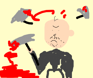 Madman with bloody hammers
