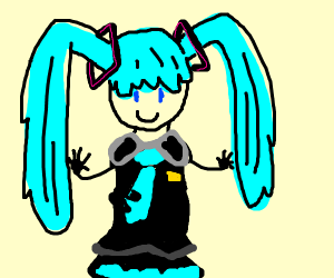 hatsune miku with a black suit