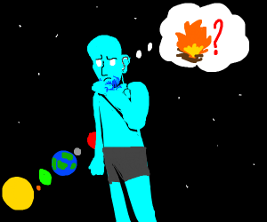 Naked Blue Man Contemplates Giving Earth Fire