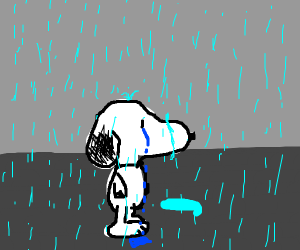 Snoopy crying in the rain