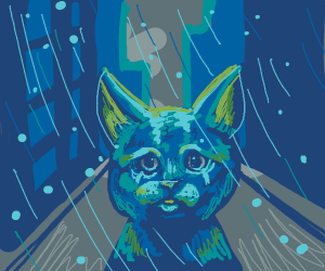 Blue cat weeps in the rain