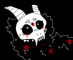 animal skull with a bullet wound and horns
