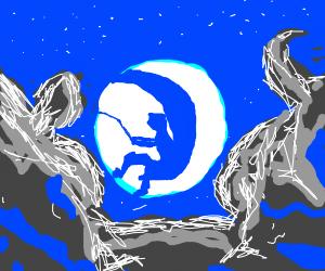 Dreamworks man fishing on moon