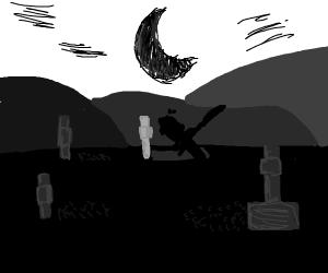 man digging his grave at night