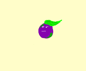 grape with a leaf for hair