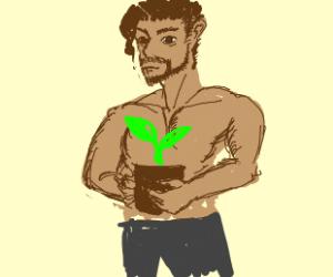 Shirtless man w/ plants