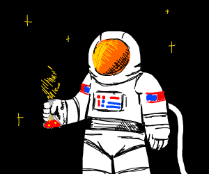 Astronaut holding a potion