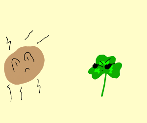 Walnut falling into peer pressure by a clover