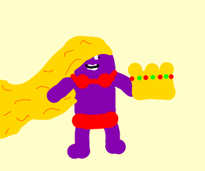 Purple man in red bikini holding crown