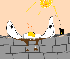 Egg cooked on a broken concrete wall