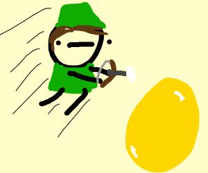 Robin Hood and flying golden egg