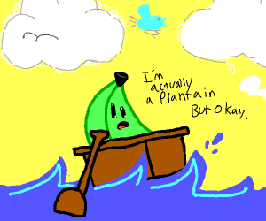 Banana on a rowboat