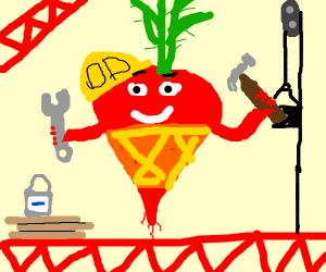 Radish Construction Worker