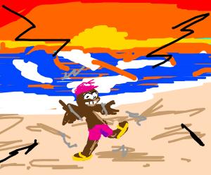 Person at the beach. Earthquake
