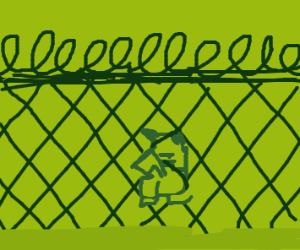 Thicc Pikachu in a short barb wire fence