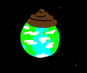 Earth covered in a giant turd