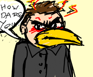 Angry man with a beak