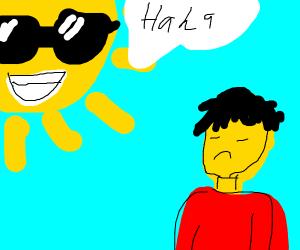 Cool sun laughs at Asian
