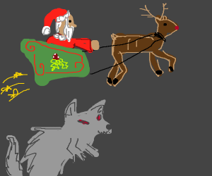 santa flying over a wolf-man