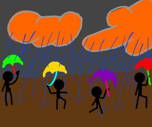 raining bu the rain clouds are orange