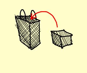 Black Bag with a Black Box inside it