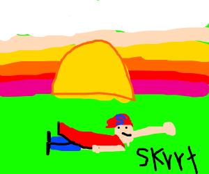 Superman Skrrting Across the Horizon