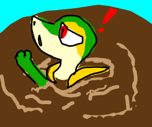 Snivy Stuck in a mole hole