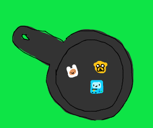 adventure time characters are cooked in a pan