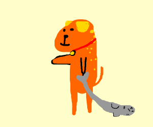 Two legged dog with no eyes on fire + a fish