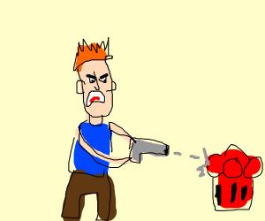 man tries to destroy fire hydrant
