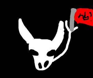 wild west cow skull holds nb? flag