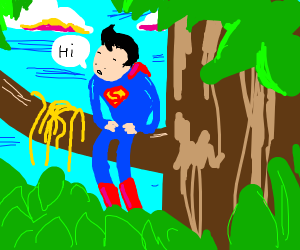 Superman with spaghetti in tree