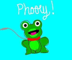 """green animal on leash yelling """"phooey!"""""""