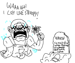wario cries in front of a sunflower