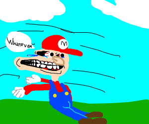 mario blown by the wind saying whatever