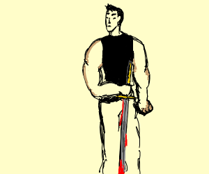 Muscular man with a bloody sword and fist.