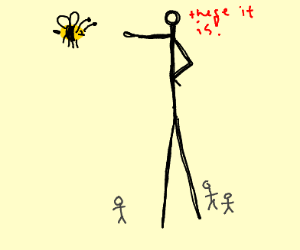 Very tall man pointing at bee