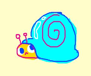 Light blue neon snail