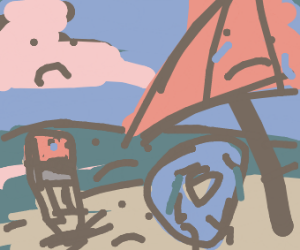 drawseption on sad beach