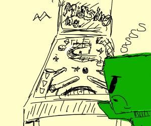 a creeper glitched a pinball machine
