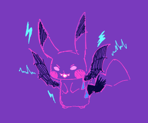 An evil purple, winged pikachu thing