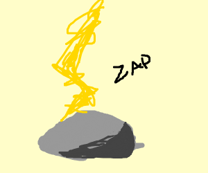 Lighting hits rock