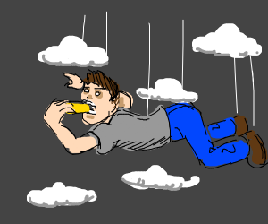 a guy eating a sponge in the sky