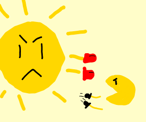 The Sun fighting pacman