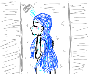 Anime girl washing her blue hair