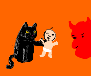 Cat giving a newborn baby to a demon