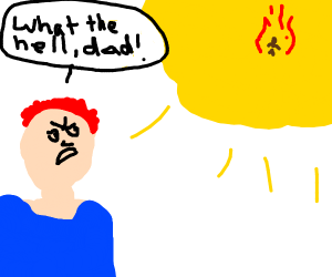 Ginger son is angry, father burnt from sun