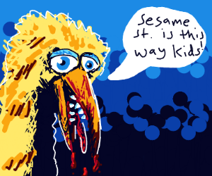 Evil Big Bird Invites Kids To Sesame Street Drawception