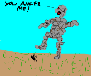 Angry stone man steps on ant