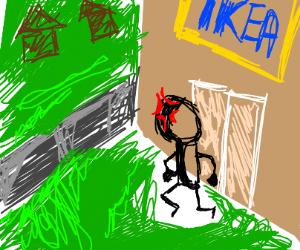 Angry man exits IKEA